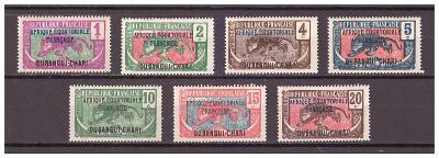 Ubangi-Šari 1924 Overpr. AFRIQUE EQUATORIALE FRANC. Michel 43-49 (48a)