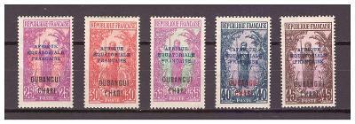 Ubangi-Šari 1924 Overprints AFRIQUE EQUATORIALE FRANCAISE Michel 50-54