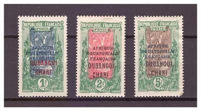 Ubangi-Šari 1924 Overpr. AFRIQUE EQUATORIALE FRANC. Michel 58-60 (58a)