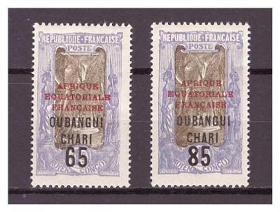 Ubangi-Šari 1925 Overprints AFRIQUE EQUATORIALE FRANCAISE Michel 74-75