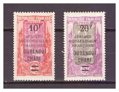 Ubangi-Šari 1925 Overprints AFRIQUE EQUATORIALE FRANCAISE Michel 80-81