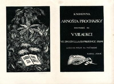 František Kobliha: Knihovna Arnošta Procházky (Zink; 1926; signováno)