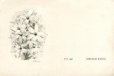 František Kobliha: P. F. 1946 - Jaroslav Knytl (signováno; dvoulist)