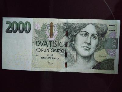 Bankovka 2000kc ,,,,K 01,,,,,2007,,,,,,top stav