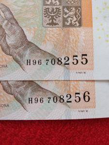 2x Bankovka 200kc,,,2018,,,H96708255,,H96708256