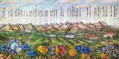 Vysoké Tatry, panoramatický pohled s popisem, kresba K.Slavík, DP