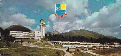 Vysoké Tatry, Štrbské pleso, parkoviště s autobusy Škoda 706 RTO, DP
