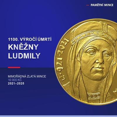 Kněžna Ludmila 10000 Kč 2021 PROOF Zlatá mince ČNB