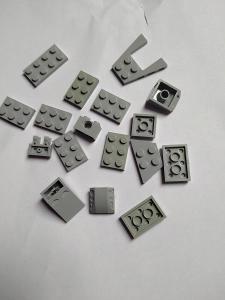 Lego kostičky - destičky - mix - šedé
