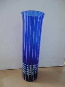 Váza modré sklo - geometrický dekor