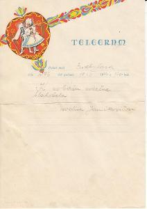 Slovensko 1940 blahoprajný svadobný telegram perník