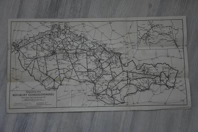 Mapa - železniční tratě REPUBLIKY ČESKOSLOVENSKEJ