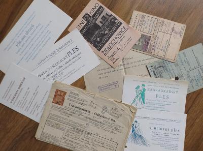 pozvánky, staré písemnosti  - Židlochovice