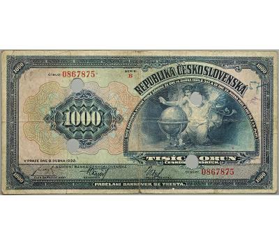 1.000 Kč 1932, série B, SPECIMEN nahoře + 4 skartační otvory