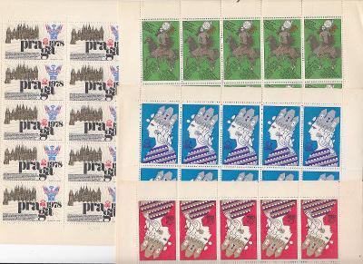 Kompletní sestava archu výstavní nálepky Praga 1978 data tisku