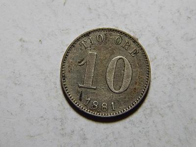 Švédsko 10 Öre 1881 EB RR Ag XF č30046
