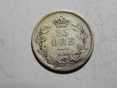 Švédsko 25 Öre 1855 ST RR VF-XF č29954