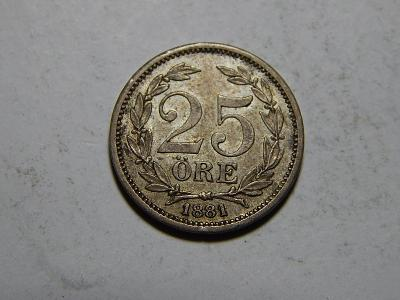 Švédsko 25 Öre 1881 EB XF č29939