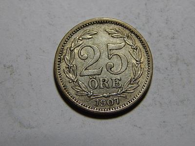 Švédsko 25 Öre 1907 EB XF-UNC č29943