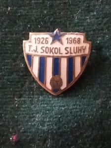 "Starý odznak""FOTBAL-T.J.SOKOL SLUHY 1926-1968""..."