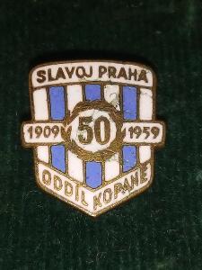 """Starý smaltovaný odznak""""FOTBAL-SLAVOJ PRAHA 1909-1959""""..."""