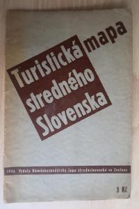 Střední SLOVENSKO - Turistická mapa 1936 - Banská Bystrica, Zvolen aj