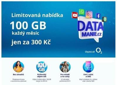 Data mánie - datamanie 100 GB dat za 300 Kč měsíčně