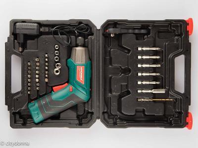 AKU šroubovák Hychika SD-4C/ otočná rukojeť/přísluš. + kufr/ Od 1Kč