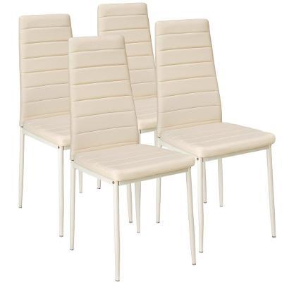 tectake 401847 4 jídelní židle, syntetická kůže - béžová