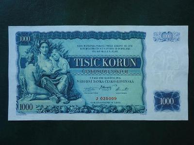 1000 Korun 1934 Serie J  Neperforovana Vzacna Luxusni Stav