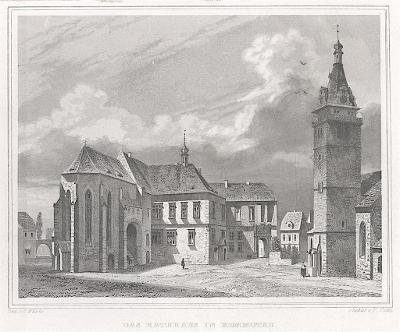 Chomutov radnice , Lange, oceloryt, 1842