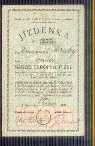 ROČNÍ JÍZDENKA č.375 Z ROKU 1930 SENÁTORA EMANUELA HRUBÉHO