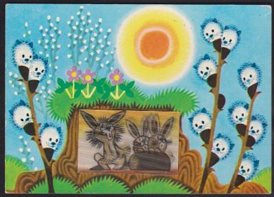 Miler pohyblivá pohlednice kočičky zvířátka velikonoční