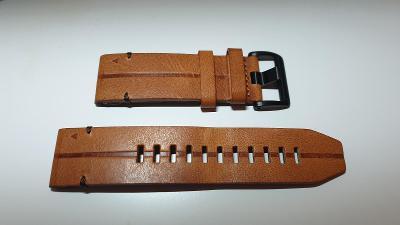 Řemínek Garmin QuickFit 26mm pro Fenix5X/6X, kožený, hnědý, černá přez