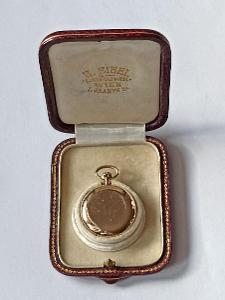 Starožitné 14K celozlaté kapesní dámské hodinky-jeptišky v etui