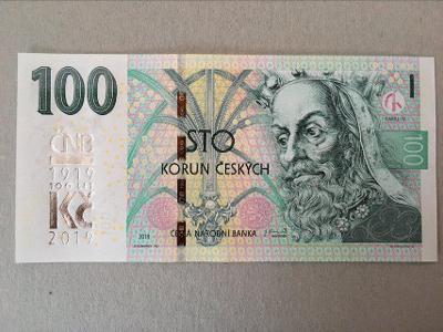 Bankovka 100 Kč s přítiskem ČNB