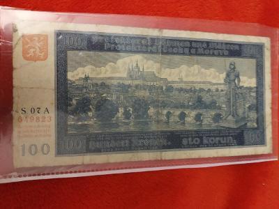 Bankovka 100kc,,,,,série,,07 A,,,,1940