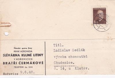 Firemní Hořovice 1948 (Beroun) - Chudenice (Klatovy).