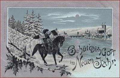 Behüt dich Gott! * trubač, hudebník, koně, město, litografie * M3776