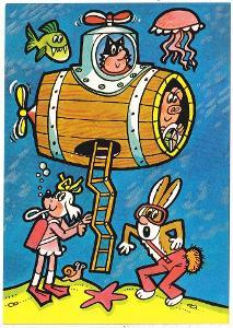 Dětská kreslená pohlednice - Zvířátka