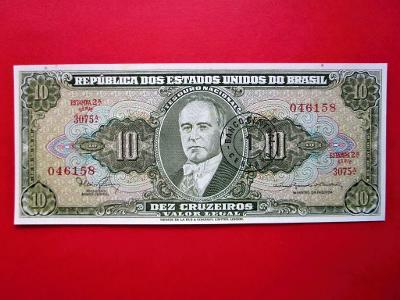 144* 10Cruzeiros/1Centavo - 1967 - P#183 - Brazílie - UNC!