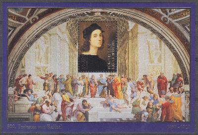 ** Lichtenštejnsko Mi.Bl.37 Výročí úmrtí Raffaela