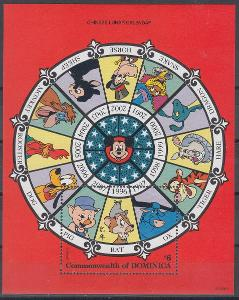 Dominika ** Mi.Bl.304 Disney, Čínský kalendář