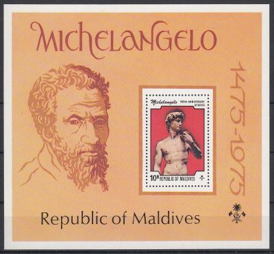 Maledivy ** Mi.Bl.35 Umění, Michelangelo