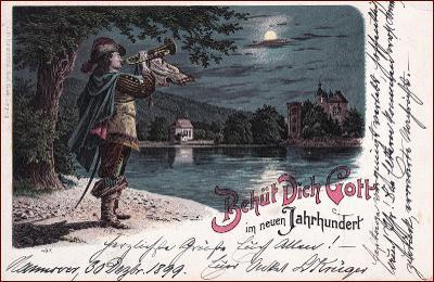 Behüt dich Gott! * trubač, hudebník, litografie, Nový rok * M3822