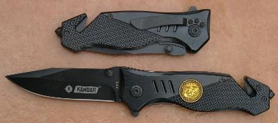 Zavírací záchranářský nůž Kandar celokovový černý