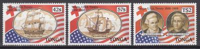 Tonga ** Mi.1048-50 Lodě, výročí smlouvy s USA