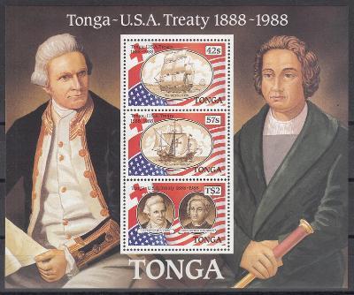 Tonga ** Mi.Bl.13 Lodě, výročí smlouvy s USA