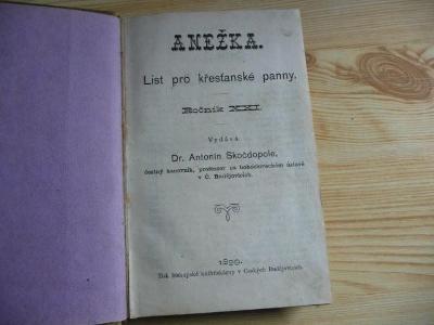 ANEŽKA - LIST PRO PANNY KŘESŤANSKÉ 1899 !! vše viz foto