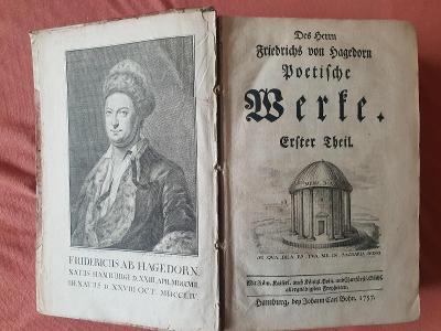 Básnické dílo Friedricha von Hagedorna, 1. část, Hamburk 1757, od 1Kč